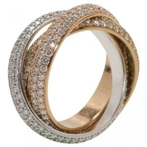 Cartier Trinity Diamond Pavé Three Tone Gold Ring Size 53