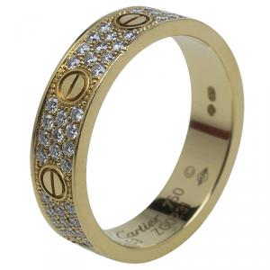 Cartier Love Diamond Paved Yellow Gold Wedding Band Ring Size 53