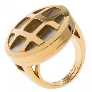 Cartier Pasha Mother of Pearl 18K Yellow Gold Ring Size 51