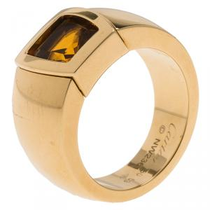 Cartier Citrine Yellow Gold Ring Size 53
