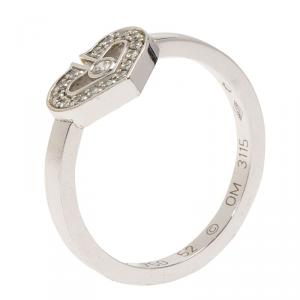 Cartier Hearts & Symbols C Heart Diamond White Gold Ring Size 52