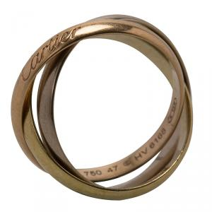Cartier Trinity De Cartier Three Tone 18k Gold Band Ring Size 47