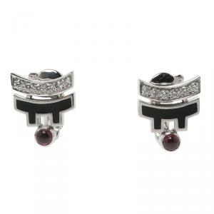 Cartier Le Baiser du Dragon Ruby Diamond & Lacquer White Gold Stud Earrings