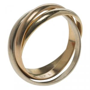 Cartier Vintage Trinity De Cartier Three Tone 18k Gold Band Ring Size 46