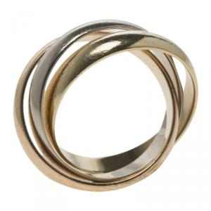 Cartier Trinity De Cartier Three Tone 18k Gold Band Ring Size 48