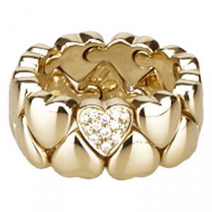 Cartier Heart Diamond Yellow Gold Ring Size 52