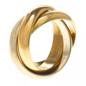 Cartier Vintage Tri Color Gold Trinity Roller Ring Size 44