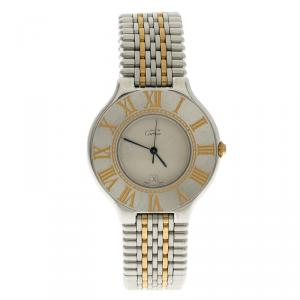 Cartier White Stainless Steel Must 21 Women's Wristwatch 35mm