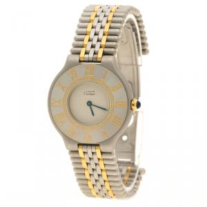 Cartier Grey Two Tone Stainless Steel Must 21 De Cartier Women's Wristwatch 31 mm