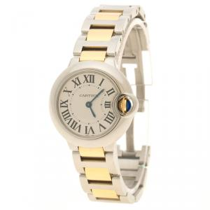Cartier Grey Yellow Gold and Stainless Steel Ballon Bleu De Cartier Women's Wristwatch 28 mm