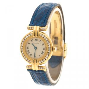 Cartier Beige 18K Yellow Gold and Diamond Colisee Vintage Women's Wristwatch 24 mm
