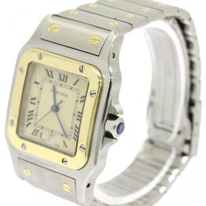 Cartier Cream 18K Yellow Gold and Stainless Steel Santos Galbee Women's Wristwatch 29MM
