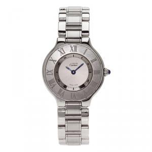 Cartier Silver Stainless Steel Must 21 Women's Wristwatch 27MM