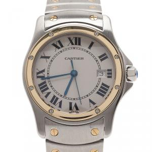 Cartier White Stainless Steel and Gold Santos Cougar Women's Wristwatch 30MM