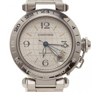 Cartier Silver Stainless Steel Pasha De Women's Wristwatch 35MM