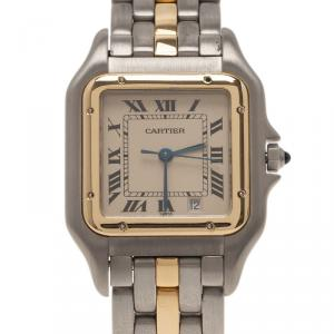 Cartier Ivory Stainless Steel and Gold Panthere Women's Wristwatch 27MM