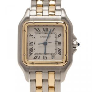 Cartier Tank Stainless Steel 18 K Yellow Gold Women's Wristwatch 27 MM