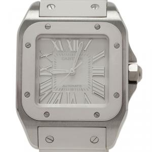 Cartier White Stainless Steel Santos 100 Women's Wristwatch 32MM