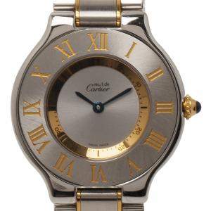Cartier Silver Stainless Steel and 18K Yellow Gold Must Women's Wristwatch 28MM