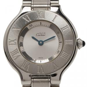 Cartier Silver Stainless Steel Must 21 Women's Wristwatch 30MM