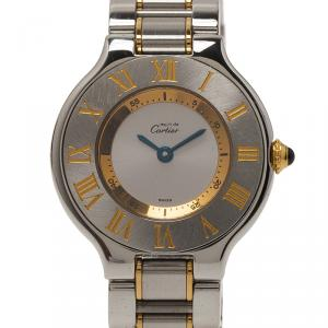 Cartier Silver Gold-Plated Stainless Steel Must 21 Women's Wristwatch 30MM
