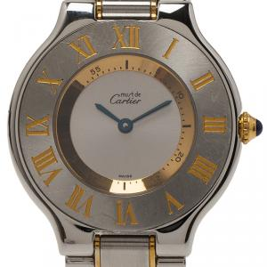 Cartier Silver Gold-Plated Stainless Steel Must 21 Women's Wristwatch 33MM