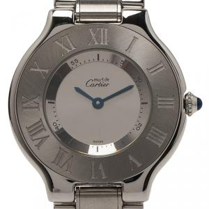 Cartier Silver Stainless Steel Must 21 Women's Wristwatch 33MM