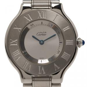 Cartier Silver Stainless Steel Must 21 Women's Wristwatch 38MM