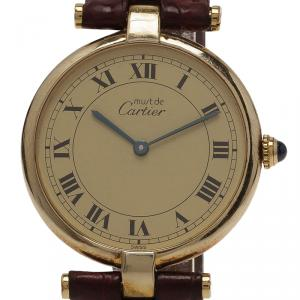 Cartier Beige Gold-Plated Silver Vermeil Women's Wristwatch 30MM