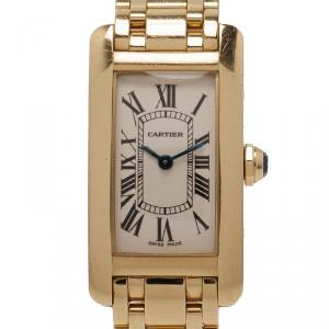 Cartier Cream 18K Yellow Gold Tank Americaine Women's Wristwatch 19MM