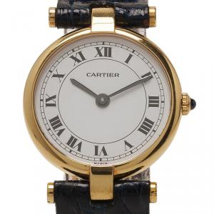 Cartier White 18K Yellow Gold Vendome Women's Wristwatch 24MM