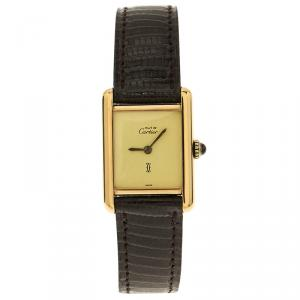 Cartier Cream Gold-Plated Silver Must De Vintage Women's Wristwatch 20MM