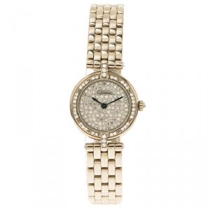 Cartier Diamond 18K White Gold Panthere Women's Wristwatch 24MM