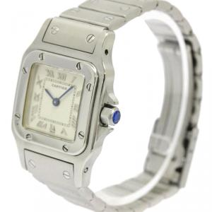 Cartier Ivory Stainless Steel Santos Galbee Women's Wristwatch 29MM