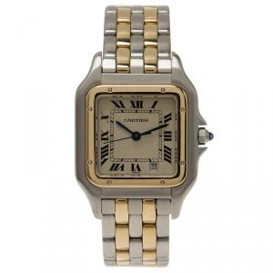 Cartier Ivory 18K Yellow Gold and Stainless Steel Tank Women's Wristwatch 27MM