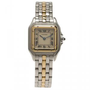 Cartier Ivory 18K Yellow Gold and Stainless Steel Panthere Wristwatch 22MM