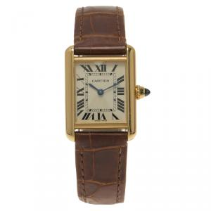Cartier White 18K Gold Tank Anglaise Women's Wristwatch 23MM