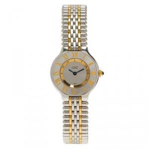 Cartier Silver Stainless Steel Must 21 Women's Wristwatch 28MM
