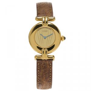 Cartier Champagne Gold-Plated Silver Vermeil Women's Wristwatch 30MM