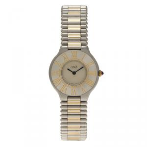 Cartier Ivory Stainless Steel Must 21 Women's Wristwatch 30MM