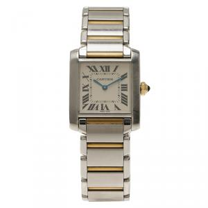 Cartier Ivory Stainless Steel and 18K Yellow Gold Women's Wristwatch Tank Francaise 25MM