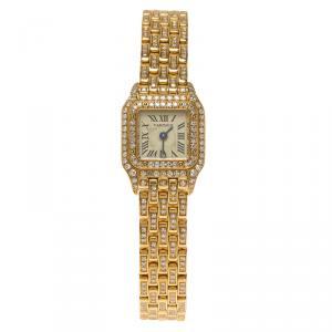 Cartier Cream 18K Yellow Gold Diamond Panthere Women's Wristwatch 16MM
