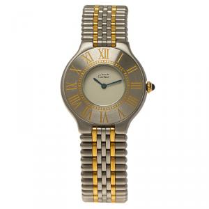 Cartier Ivory Stainless Steel Must 21 Women's Wristwatch 31MM