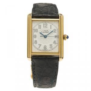 Cartier White Gold-Plated Silver Must De Vintage Women's Wristwatch 25MM
