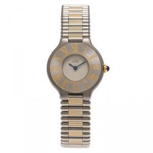 Cartier Ivory Stainless Steel Must 21 Women's Wristwatch 28MM