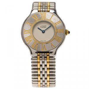 Cartier Cream Stainless Steel Must 21 Women's Wristwatch 31MM