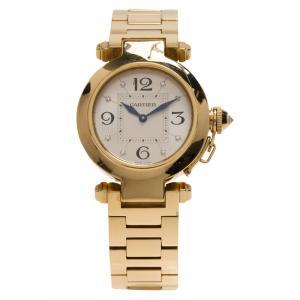 Cartier Silver 18K Rose Gold Pasha de Cartier Women's Wristwatch 32MM