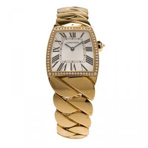 Cartier Silver 18K Yellow Gold La Dona Women's Wristwatch 29MM