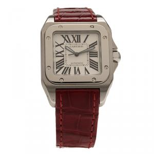 Cartier White Stainless Steel Santos 100 Women's Wristwatch 34MM