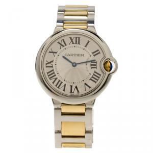 Cartier Silver Stainless Steel and 18K Yellow Gold Ballon Bleu Women's Wristwatch 33MM